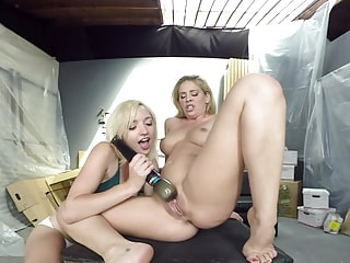 Blondes Put on a Lesbian Sex Show for a Voyeur