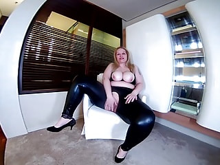 Blonde BBW in Wet Look Leggings Masturbates Solo