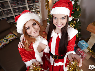 Christmas Cuties Gift You a Hardcore POV Threesome