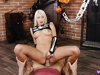 Sexy Halloween Hardcore Sex with a Blonde on Top