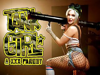 Busty Lady Riding Dick in a Tank Girl Porn Parody