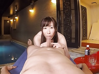Japanese honey lets your little fellow take a swim in the pool between her legs