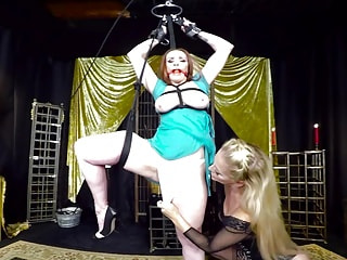 MILF Mistress Dominates a Tied up Lesbian Sub