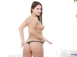 Steamy Solo of the Hot Busty Babe in Tight Shorts - Shaved Teen Fingering