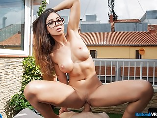 This nerdy hottie can calculate the trajectory and velocity of your jizz in a matter of seconds!