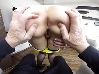 Stacked blonde lets you spread her sitting cushions like an open book
