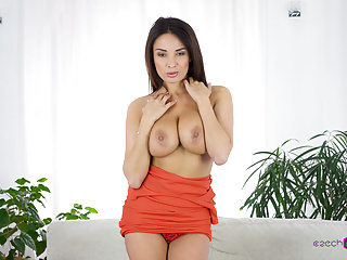 Busty French babe spreads her pussy lips as if they were pages of a book