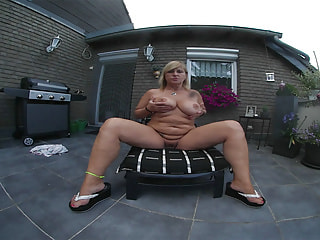 Chubby Solo MILF Strips and Masturbates Outdoors