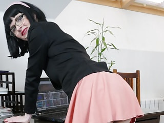 Mature Secretary Tease in Black Seamed Stockings