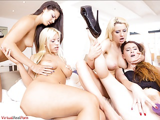 Tupperware party, an orgy with lesbians and dildos