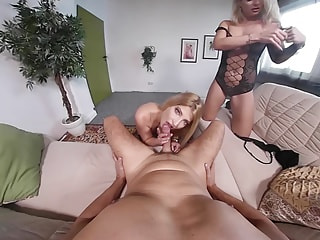 Two sexy German sluts take turns spinning on your large and meaty stick